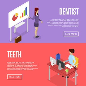 Corporate office life isometric 3d banner web