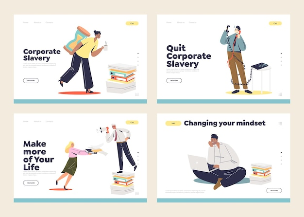 Corporate and office slavery concept of landing pages set with overworked office managers, overloaded workers with tasks and deadlines.