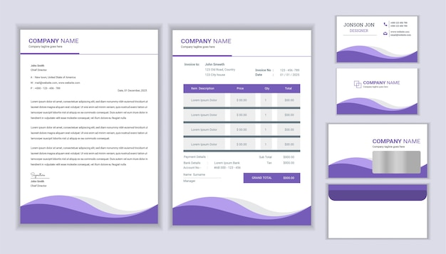 Corporate official stationery template design with letterhead, invoice and business card design.