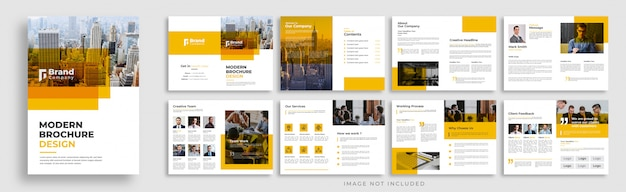 Corporate orange multi page brochure template layout