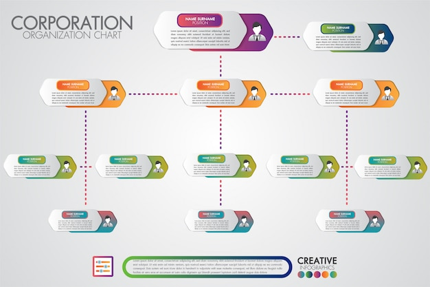 Corporate organisation chart template with business people icons