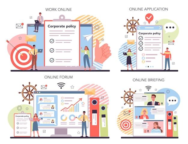 Corporate organization online service or platform set