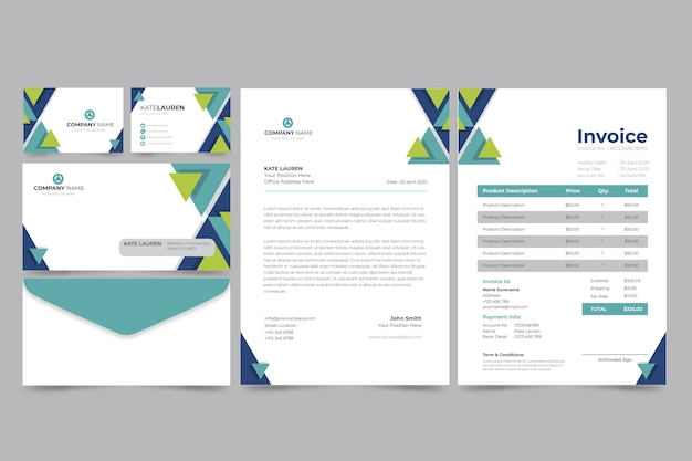 Corporate paper invoice and business card