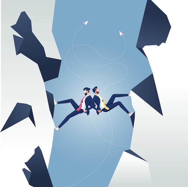 上向きに移動する企業パートナーのビジネスチームワークの概念