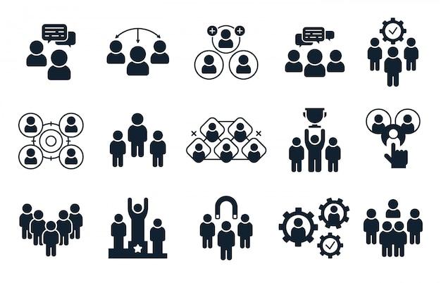 회사 사람들 아이콘입니다. 명, 사무실 팀워크 그림 및 비즈니스 팀 실루엣 아이콘 세트