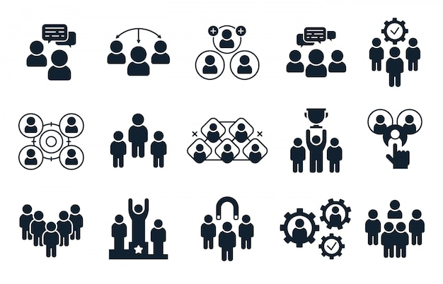 Corporate people icon. group of persons, office teamwork pictogram and business team silhouette icons  set