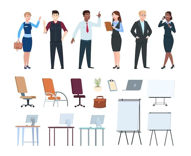 Корпоративные люди. офисная интерьерная мебель, мультимедийные доски, стулья, компьютерные столы. персонажи мультфильмов бизнес, изолированные международные команды векторные иллюстрации. внутренний офисный стол и люди