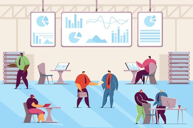 コントロールセンターでコンピューターに取り組んでいる企業の人々。操作を監視するエンジニアフラットベクトル図。テクノロジー、バナー、ウェブサイトのデザイン、またはランディングウェブページのサイバーセキュリティの概念