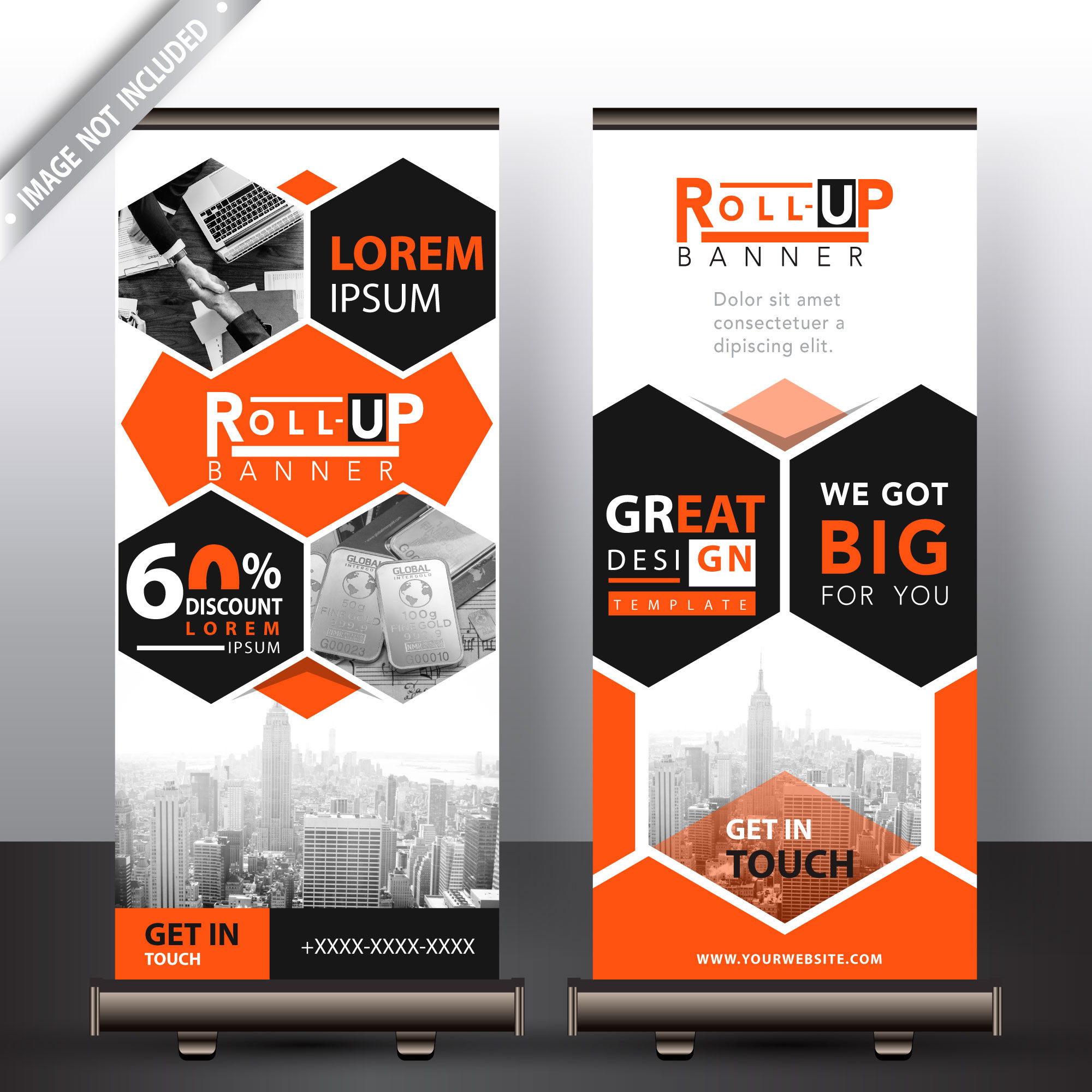 Corporate polygonal roll up banner