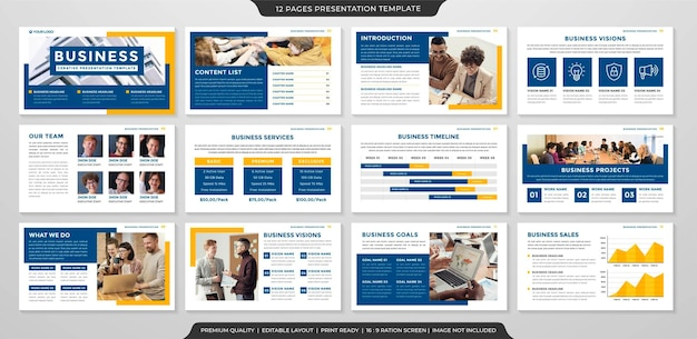 Corporate powerpoint layout template premium vector