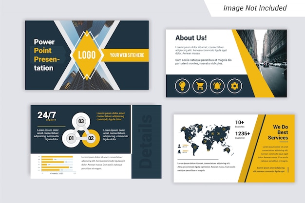 Corporate powerpoint persentation template with world map