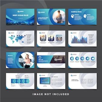 Corporate presentation slide template with blue theme color