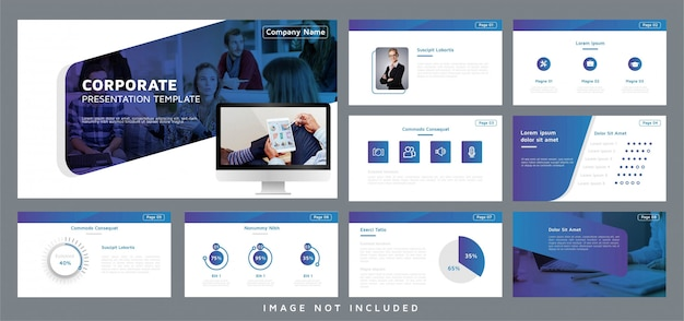 Corporate presentation template brochure with computer element
