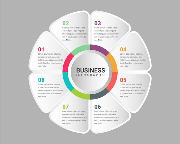 Corporate professional presentation 8 step business infographic template