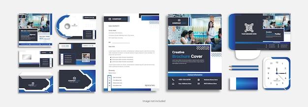 Corporate professional stationery set clean design. Premium Vector