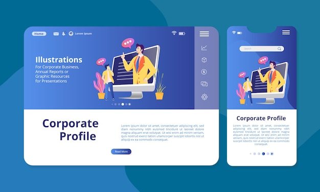 Corporate profile in the screen for web or mobile display.