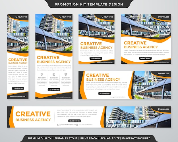 Corporate promotion kit template layout with abstract and modern style