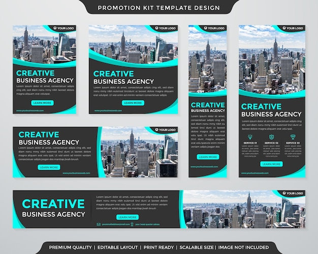 Corporate promotion kit template layout with abstract and premium style