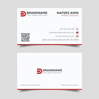 패턴 배경으로 기업 빨간색과 흰색 크리 에이 티브 비즈니스 카드 디자인 서식 파일 프리미엄 벡터