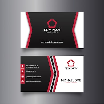 Corporate red line business card