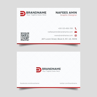 Corporate red and white creative business card design template with pattern background