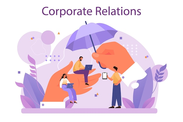 Corporate relations. business ethics. corporate organization development and compliance. company policy course for employees. flat vector illustration