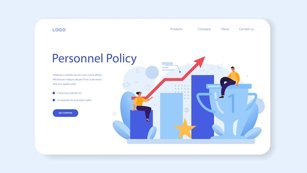 Corporate relations web banner or landing page. business ethics. corporate organization development and compliance. company policy course for employees. flat vector illustration