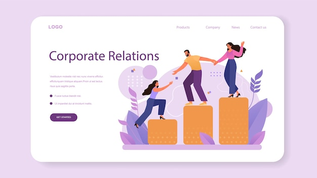 Corporate relations web banner or landing page business ethics