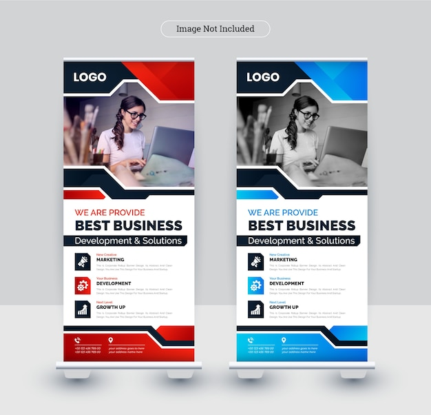Corporate roll-up banner design template.