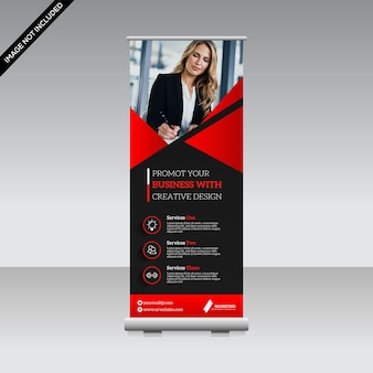 Corporate roll up banner premium vector