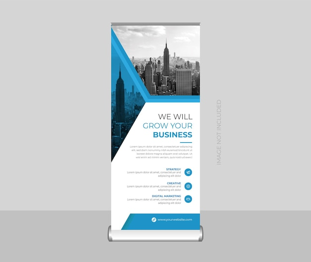 Corporate roll up banner or stand banner or x banner and signage design template premium vector