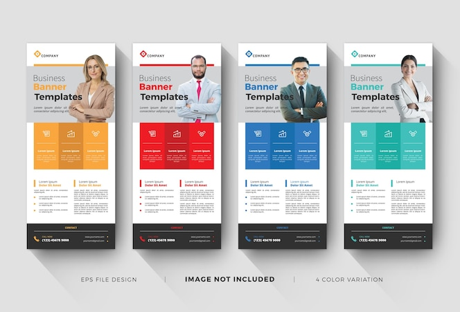 corporate roll up banner templates with color variation