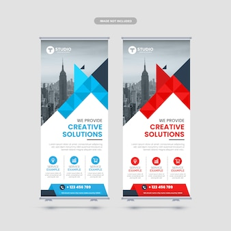 Corporate rollup banner design template premium vector