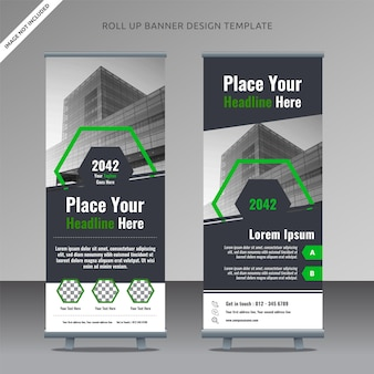 Corporate rollup xbanner design template, organized layer