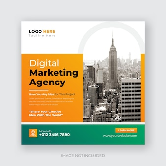Corporate social media post and digital marketing business promotion square banner