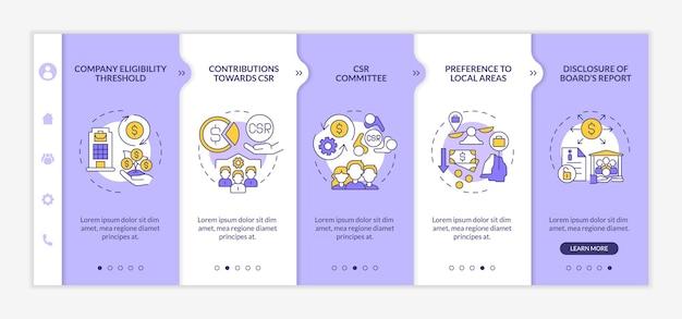 기업의 사회적 책임 기본 온보딩 벡터 템플릿입니다. 아이콘이 있는 반응형 모바일 웹사이트입니다. 웹 페이지 연습 5단계 화면. 선형 삽화가 있는 색상 개념