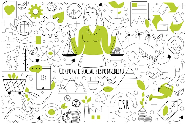 Corporate social responsibility doodle set. collection of hand drawn doodles.