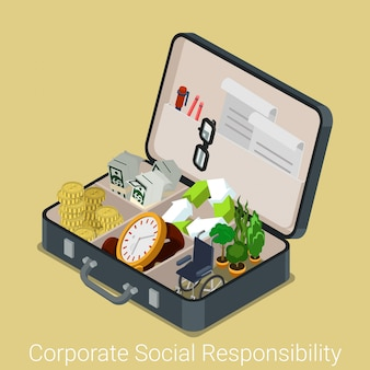 Corporate social responsibility isometric concept. opened briefcase with money watch recycling sign green plants disabled chair inside vector illustration.