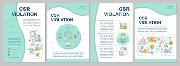 企業の社会的責任違反の青いパンフレットテンプレート。チラシ、小冊子、リーフレットプリント、線形アイコンのカバーデザイン。プレゼンテーション、年次報告書、広告ページのベクターレイアウト