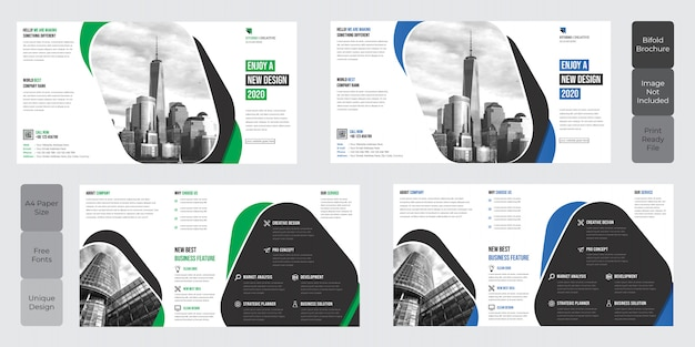 Corporate square bi-fold brochure template design