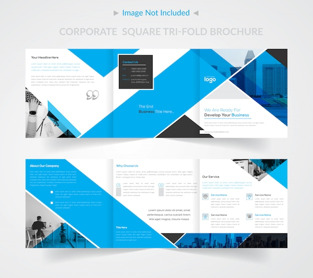 Corporate square tri-fold brochure template