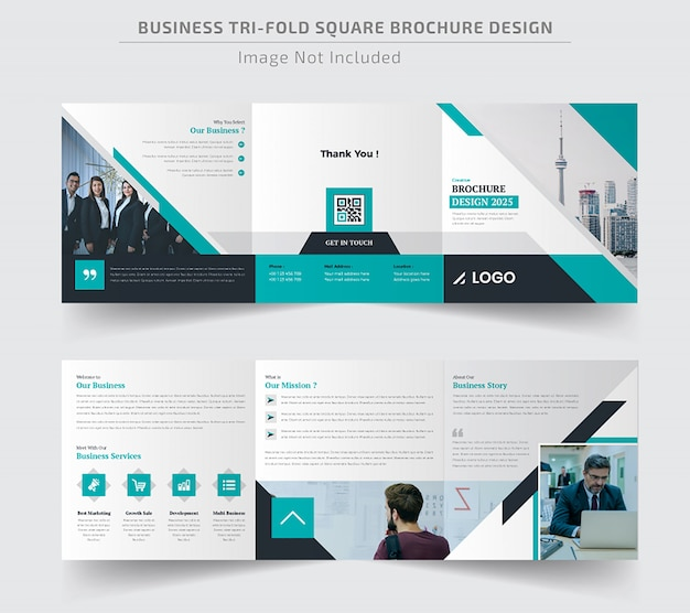 Corporate square trifold brochure template