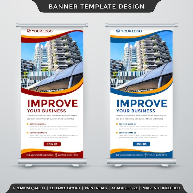 Corporate stand banner template premium vector
