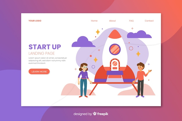 Corporate start up landing page Free Vector