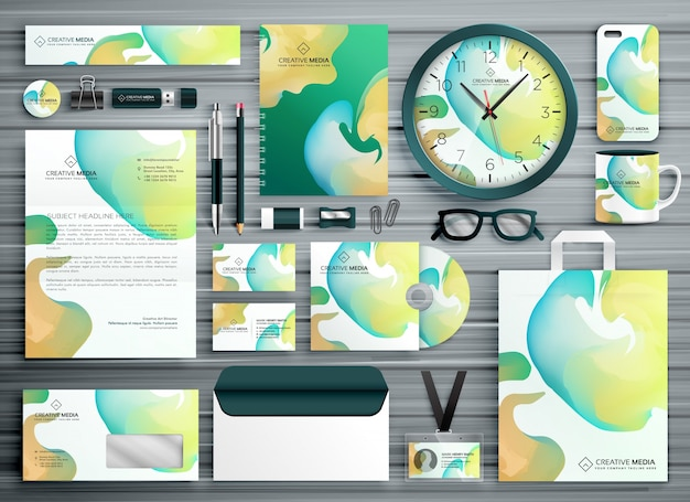 Corporate stationery set in abstract colorful shapes