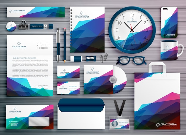 Corporate stationery set in colorful geometric shapes