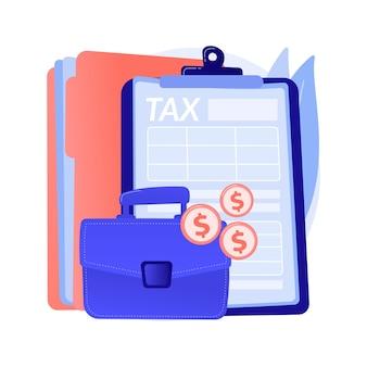 法人税の抽象的な概念のベクトル図です。税務申告サービス、企業所得、企業責任、支払い計画、有限会社、分割控除の抽象的な比喩。