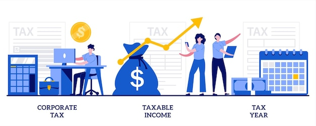 Corporate tax, taxable income, tax year concept with tiny people. set of tax payment.