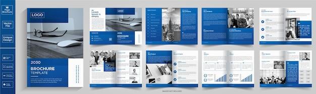 기업 테마 16 페이지 비즈니스 회사 프로필 브로셔 디자인최소한의 깨끗한 기하학적 디자인