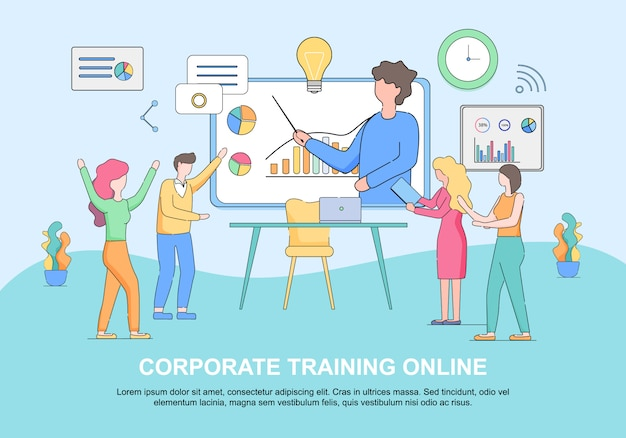 Corporate training online horizontal web template with copy space